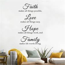 Faith Love Family Vinyl Quotes Wall Decals Home Decor Living Room Inspirational Quotes Wall Stickers Bedroom Decorative Stickers Wall Stickers Aliexpress
