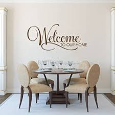Amazon Com Battoo Welcome Wall Decal Welcome To Our Home Decal Welcome Home Decal Welcome Sign Family Wall Decal 22 W 10 H Home Vinyl Wall Sticker Black Furniture Decor