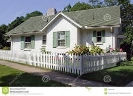 Cottage With Picket Fence Stock Image Image Of Idyllic 15283429