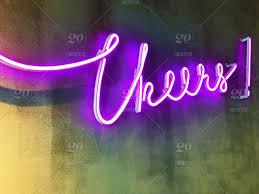 cheers purple neon word neon neon