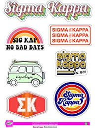 Amazon Com Sigma Kappa Sticker Sheet Retro Theme Kitchen Dining