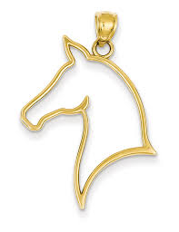 horse head silhouette pendant necklace