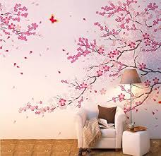 Amazon Com Cukudy Large Size Plum Blossom Cherry Blossom Flowers Tree Wall Decals Flowers Wall Decal Tree Wall Art Mural Home Kitchen