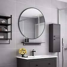 round metal framed wall mounting mirror