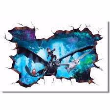 How To Train Your Dragon Toothless Light Fury 3d Wall Decal Sticker 18 24 36 Or