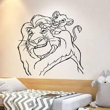 Lion King Wall Decal Cartoon Simba Vinyl Wall Sticker Nursery Kids Bedroom Baby Room Home Decor Removable Mural Art S929 Leather Bag