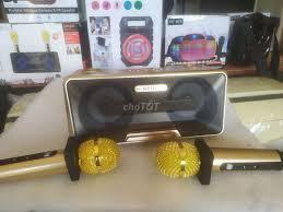 loa Bluetooth karaoke nghe nhạc kèm 2 mic bluetoot - 78132545