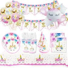 Cumpleanos Unicornio Kit De Vajilla Desechable Unicornio