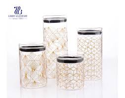 set of 4 stackable airtight glass