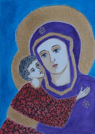 Our Lady of Vladimir Modern Painting by Vera Smith