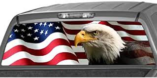 American Flag Stars Stripes Rear Window Graphic Decal Tint Sticker Truck Cap