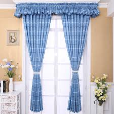 Cute Blue Kids Room Plaid Curtains Valance Not Included