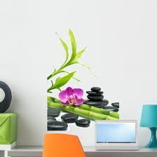 Purple Orchid With Bamboo Wall Decal Wallmonkeys Com