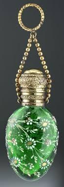 c 1890 green glass scent perfume bottle