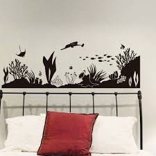 Under The Sea Wall Sticker Vinyl Marine Life Coral Silhouette Fish Decals For Kids Room Vintage Home Decoration For Living Room Fishing Decals Kids Room Decallsfor Kids Aliexpress