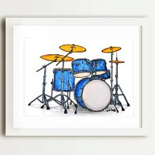 Drumset Pencil Print Musican Wall Art Blue Drum Set Music Illustration Cymbals Ink Drawing Snare Drum Unique Gift Art Drums Art Drum Drawing
