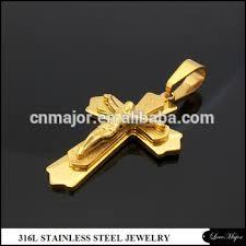 gold stainless steel cross pendant