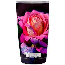 Skin Decal Vinyl Wrap 5 Piece Kit For Yeti 20 Oz Rambler Tumbler Stickers Skins Cover Cup Beautiful Rose Flower Pink Purple Walmart Com