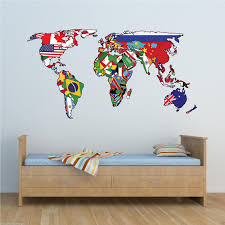 Full Colour World Map Atlas Office Bedroom Wall Art Sticker Decal Independence