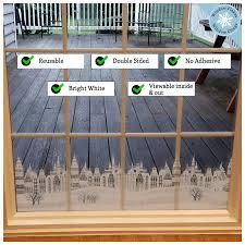 Cityscape Border Christmas Window Decal Decoration Window Flakes