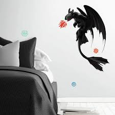 Amazon Com Roommates How To Train Your Dragon The Hidden World Toothless Peel And Stick Giant Wall Decals Black Red Blue Home Improvement