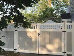 72 Grey White Two Tone Pvc Fence Double Driveway Classic Picket Top Gates Backyard Fences Backyard Patio Fence