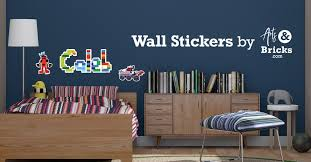 Boys Kids Bedroom Custom Vinyl Sticker Wall Decals Stickers Personalised Name Lego Bricks Wall Art Wall Decals Stickers Home Decor