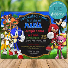 Invitacion De Cumpleanos De Sonic The Hedgehog Para Imprimir