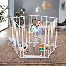 Odoland 128 Inch Baby Gate Playard With Swing Door Adjustable Metal Safety 5 Panels Play Pen For Toddler Pet Dog Christmas Tree Fence Includes 4 Pack Of Wall Mounts White Walmart Com Walmart Com