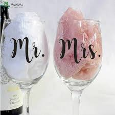 12pcs Set Mr And Mrs Wine Glasses Sticker Newlyweds Engagement Wedding Gift Champagne Glass Decal Wedding Decoration Qq516 Wall Stickers Aliexpress