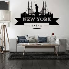 New York Skyline Wall Decal Yankees Rangers Sticker Design Logo City Vamosrayos