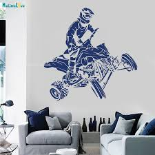 New Design Wall Decal Quad Bike Race Motor Four Wheeler Extreme Sport Bike Racing Rider Decoration Vinyl Murals Poster Yt1768 Wall Stickers Aliexpress