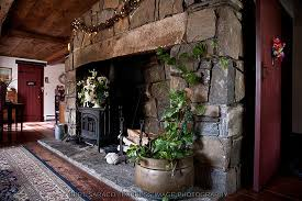stone fireplace in common area