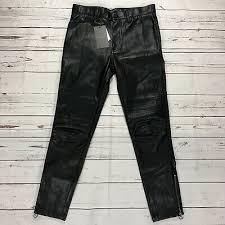 zara man faux leather biker moto pants