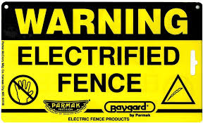 Electric Fence Warning Sign Parmakusa