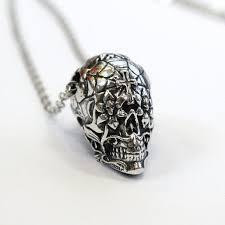 sugar skull necklace solid sterling