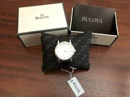 silver dial black leather watch 96a28