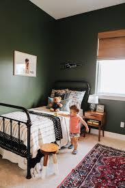 Toddler Room Iron Bed Dark Green Walls Big Boy Room Boy Nursery Kailawalls Green Boys Room Boys Bedroom Green Green Kids Rooms