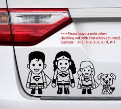 Family Car Vinyl Decal Super Heroes Etsy