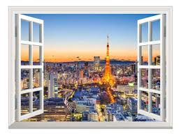 Wall26 Removable Wall Sticker Wall Mural Tokyo Japan Skyline At Tokyo Tower Creative Window View Home Decor Wall Decor 24 X32 Walmart Com Walmart Com