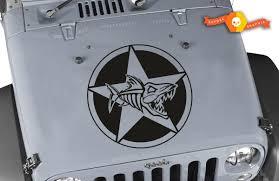 Product Oscar Mike Fish Skeleton Star Hood Vinyl Decal 23 Fits Jeep Wrangler Tj Jk Lj Jeep Wrangler Tj Vinyl Decals Wrangler Tj