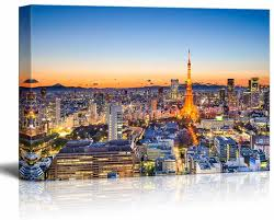 Amazon Com Canvas Prints Wall Art Tokyo Japan Skyline At Tokyo Tower Modern Wall Decor Home Art Stretched Gallery Canvas Wraps Giclee Print Ready To Hang 24 X 36 Posters