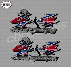 Coon Hunter Confederate Rebel Flag 4 4 Truck Bed Vinyl Decal Sticker Set Of 2 Size 14 X 7 Country Boy Customs Store