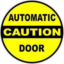 Amazon Com Caution Automatic Door Decal 5 X 5 5 Pack 5 Decals Industrial Grade Safety Sticker For Automated Opening Closing Doors Made In Usa Everything Else