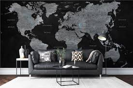 Customized Large World Map Wall Decal World Map Wallpaper Etsy