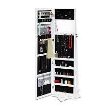 white mirrored jewellery cabinet