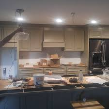 pendant lights above island with short