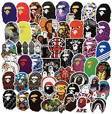 Amazon Com Popular Logo Stickers Bape Brand Stickers Laptop Water Bottles Bedroom Wardrobe Car Skateboard Motorcycle Bicycle Mobile Phone Luggage Guitar Diy Decal Bape 50 Kitchen Dining