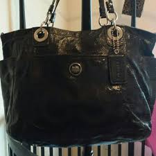 black patent leather diaper bag