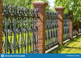 Black Metal Fence With Brick Pillars Stock Image Image Of Elements Security 152207775